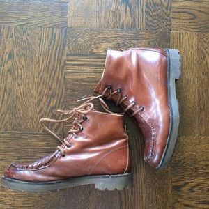 Lace Up Leather Boots Cognac Folk Boots